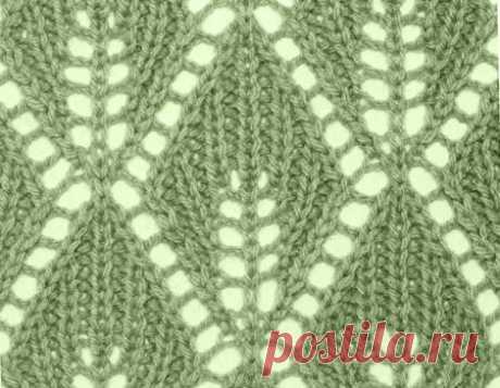 узор 137 ажурные листья с резинкой| каталог вязаных спицами узоров