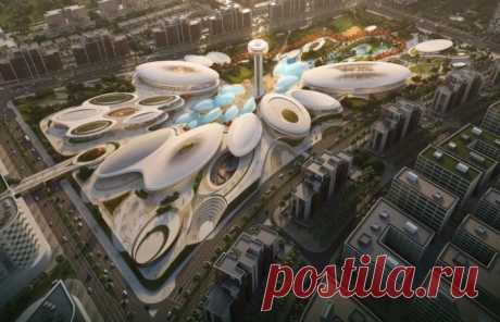 Футуристическай парк развлечений с энергосберегающими технологиями построят в ОАЭ Архитекторы студии Zaha Hadid Architects продемонстрировали проект Central Hub — нового места для отдыха и развлечений в Объединенных Арабских Эмиратах.