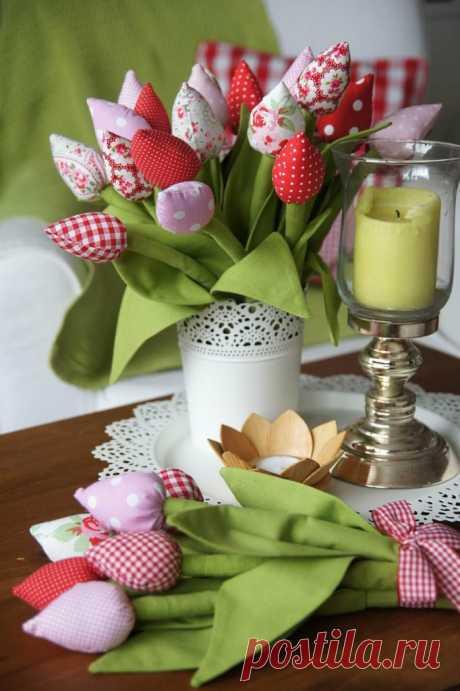 Тюльпаны из ткани своими руками: подарок маме на 8 марта ~ ALL-DEKOR.RU