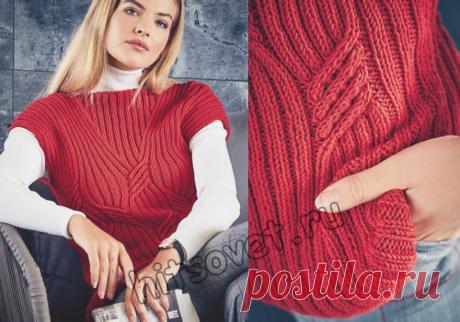 Стильная безрукавка Стильная вязаная спицами резинкой безрукавка для женщин со схемой и бесплатным пошаговым описанием вязания. Размеры безрукавки: 36-38 (40-42, 44-46).