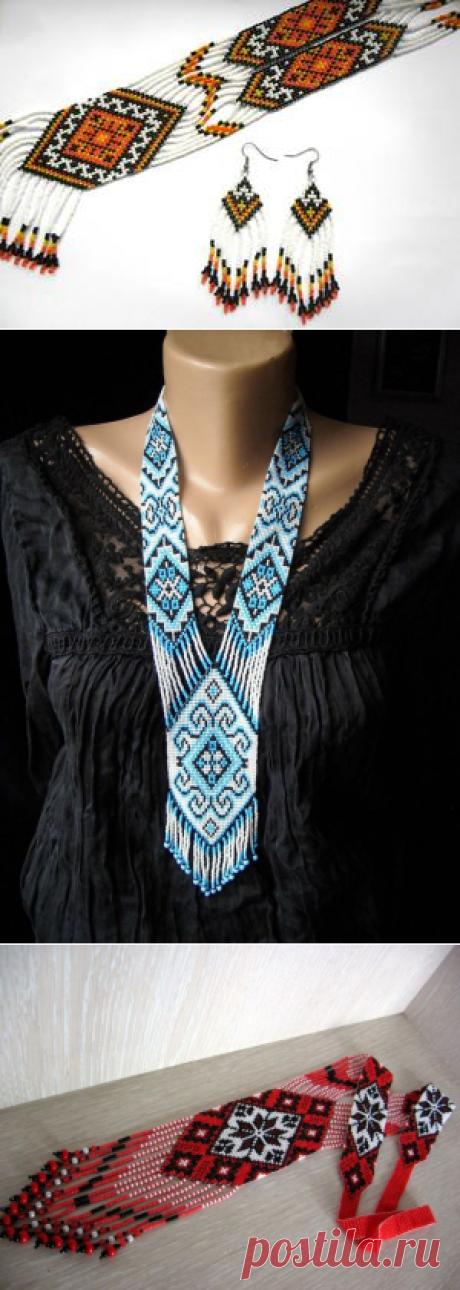 Гердан: плетение украшений из бисера, мастер-класс для начинающих по схеме