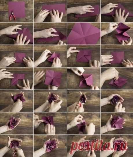 Делаем розу оригами — Поделки с детьми