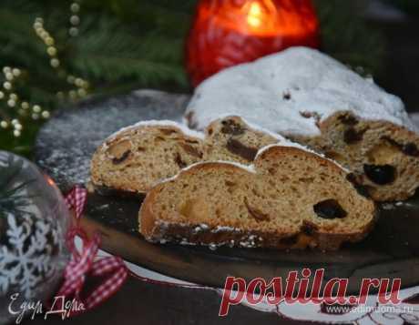 Рождественский дрожжевой штоллен , рецепт с ингредиентами: мука, молоко, дрожжи сухие