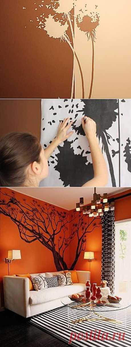 Как перевести рисунок на стену.  Интересная идеюя в оформлении крашеных стен, и хороший мастер-класс