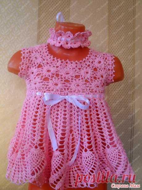 Вязаный розовый ажурный сарафан для девочки