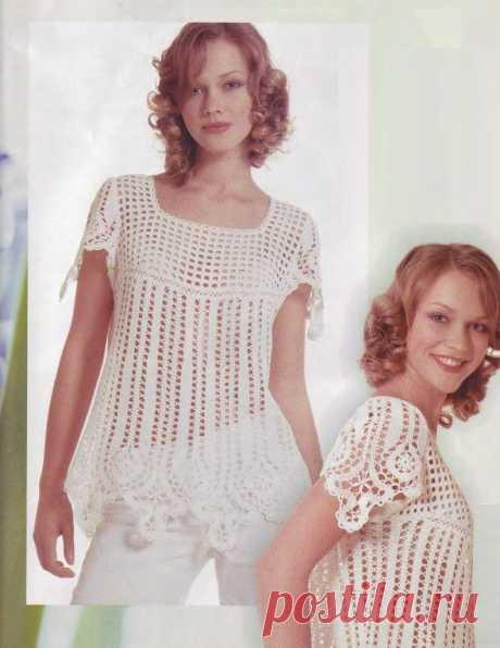 Чудесная блуза - туника в технике брюггского кружева - Lilia Vignan