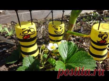 МК: Как Сделать Пчел из Пластиковых Бутылок для Вашей Дачи
