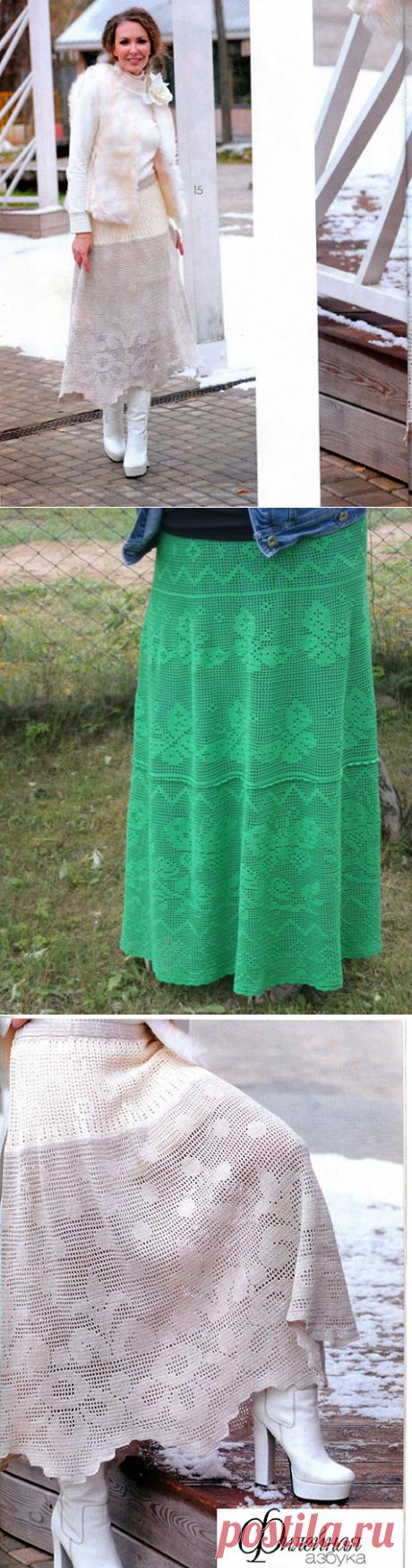 6 длинных юбок крючком филейным вязанием – схемы узоров и описание с выкройками