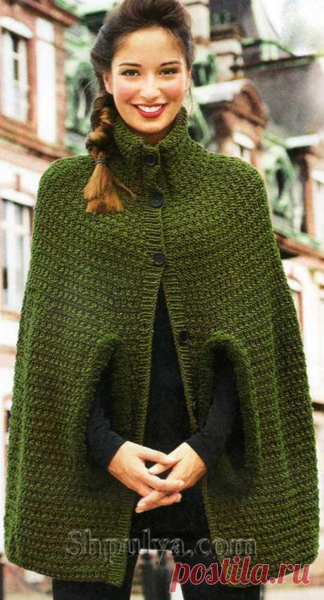 Olive poncho, knitted spokes - SHPULYA.com