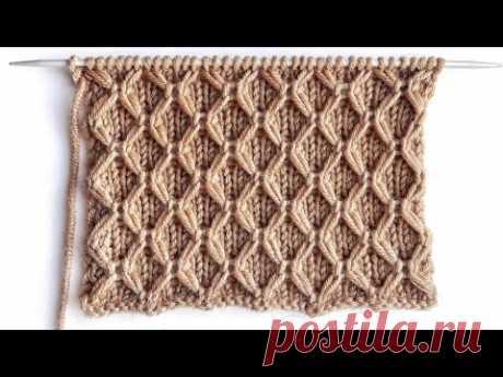 Симпатичная сетка-соты на лицевой глади для вязания шапок, свитеров, носков