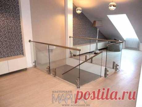 Изготовление лестниц, ограждений, перил Маршаг – Перила стеклянные на стойках