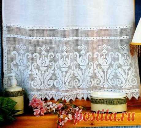 Фіранка з філейним оздобленням - Штори та фіранки - В'язання для дому - Каталог статей - Md.Crochet