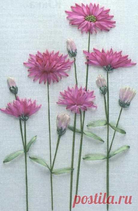 Вышивка лентами: сухоцветник