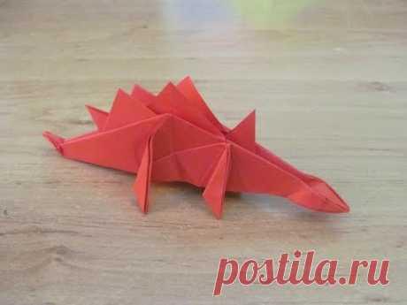 Как сделать Динозавр из бумаги оригами  Бумажный динозавр  Paper dinosaur origami
