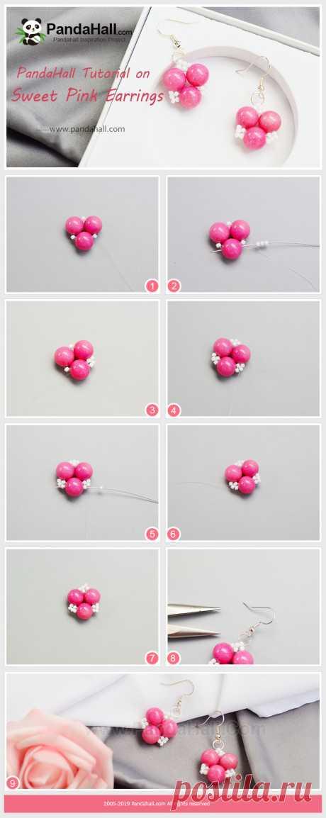 Сладкий Розовый Серьги Розовые нефритовые серьги с белыми бисером делают его очень сладким, и метод очень прост.т. Если вам нравится эта серьга, попробуйте. Ссылка: https://bit.ly/2WHm7fP