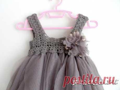 Платье малышке (вязание + ткань)   Mom's Page