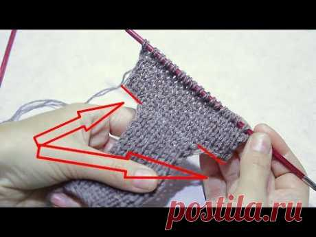 Вязание спицами / Как прибавить петли по краю полотна / Урок для начинающих .