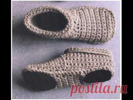 СЛЕДКИ-ТАПОЧКИ крючком   PODOTHECA-SLIPPERS crochet.   часть 3. Этот ролик обработан в Видеоредакторе YouTube (...). Crochet, Crochê, Крючком,