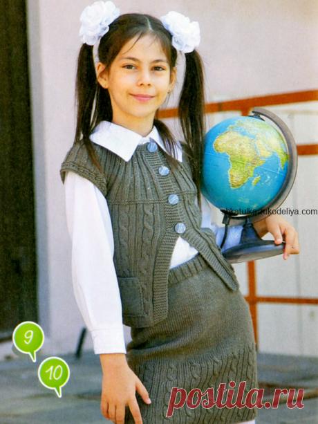 Комплект для девочки: жилет и юбка спицами. Детский комплект для школы спицами