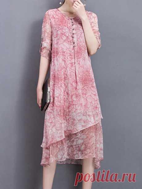 Women Half Sleeve Printed Loose O-neck Irregular Silk Dresses - US$30.55