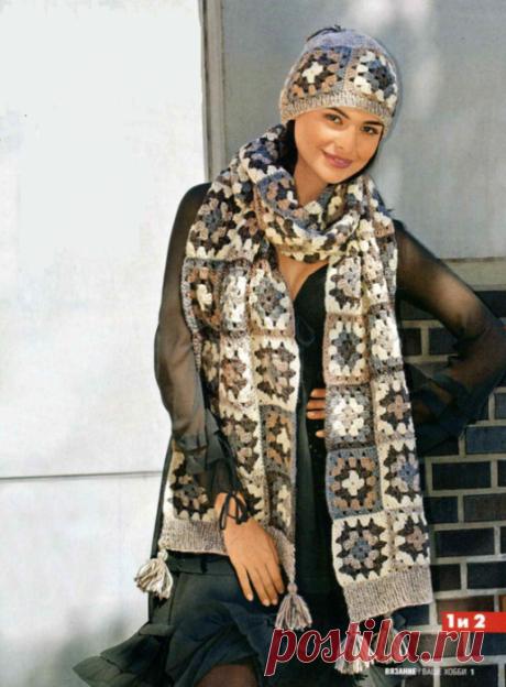 Шапка и шарф из квадратных мотивов .