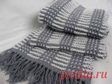 Элегантный мужской шарф (Вязание спицами) – Журнал Вдохновение Рукодельницы