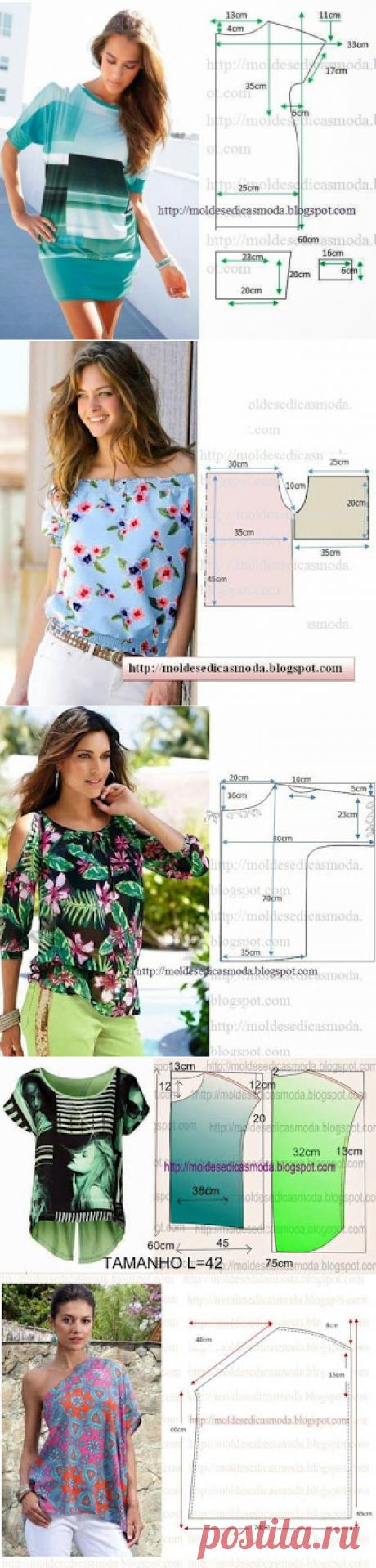 Блузки, туники - очень много простых выкроек, шитье, летняя одежда