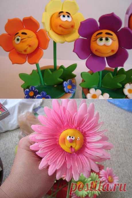 Идеи для лепки из полимерной глины. Веселые цветочки:)