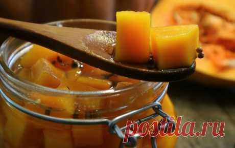 Тыква в маринаде: экзотическая закуска к мясным блюдам! Пошаговый рецепт приготовления тыквы в маринаде в домашних условиях. Экзотическая и оригинальная закуска к мясным блюдам.