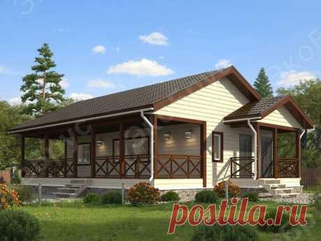 Одноэтажный дом с просторной крытой верандой: коттедж в альпийском стиле | ЭкоБрус - каркасные дома | Яндекс Дзен