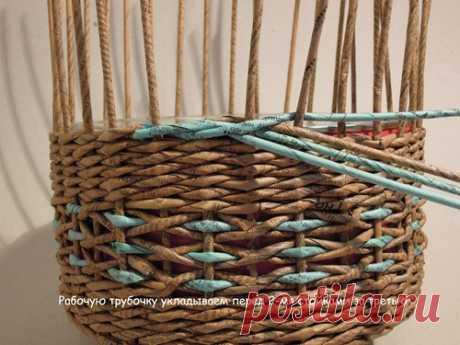 Интересная концовка плетения корзины, загибка. Плетение из газет-МК