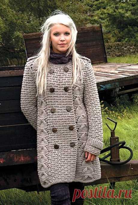 Вязаное пальто кардиган, модели с описанием