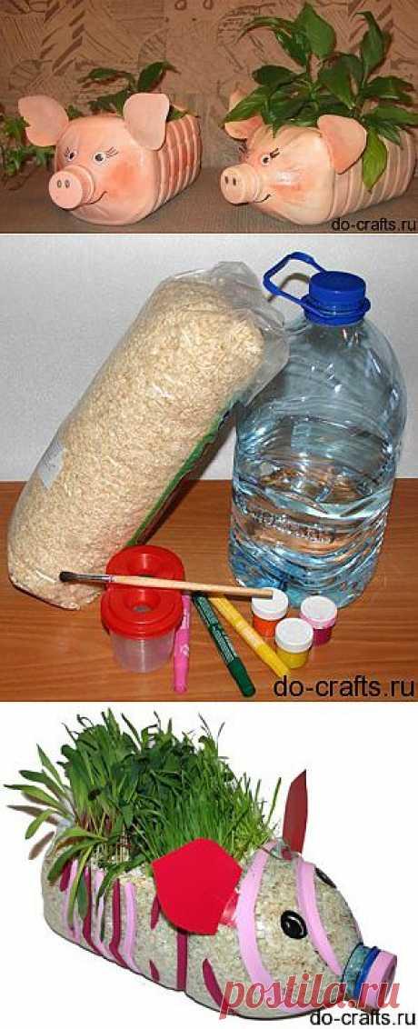 Поросята из пластиковых бутылок, мастер класс. Для двора и сада.