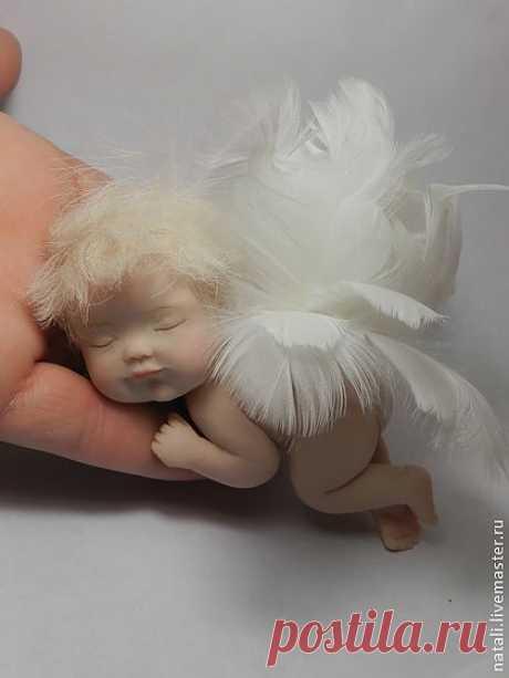 Ангелочек - белый,ангелочек,ангел,ангелок,спящий ангел,полимерная глина