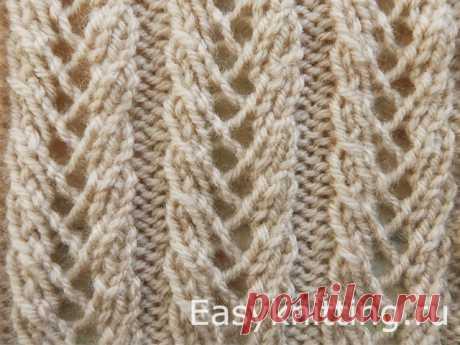Ажурный узор спицами «Колоски» (видео) — Узоры вязания спицами : видео, схемы, описание