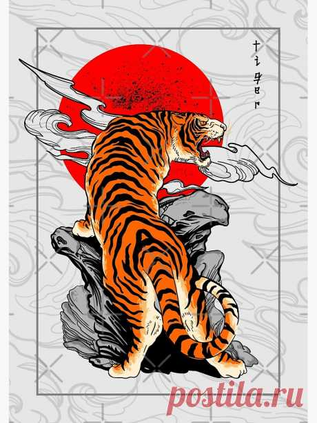 """""""Tiger Japan Style Tattoo"""" Metal Print by Formillion 