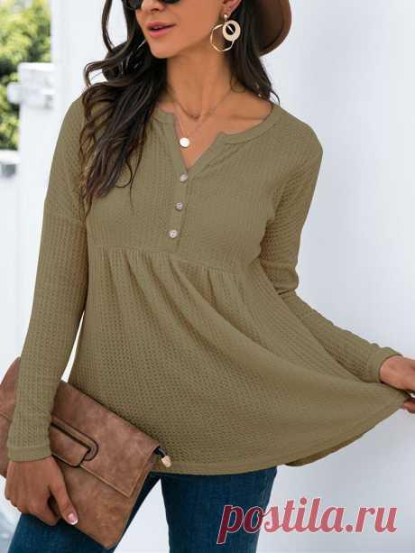Модный однотонный вязаный женский свитер с длинным рукавом и V-образным вырезом на пуговицах - NewChic