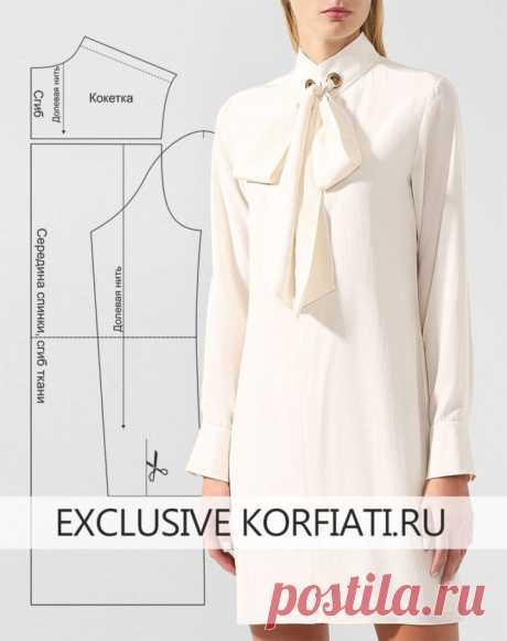 Выкройка платья с воротником аскот от Анастасии Корфиати