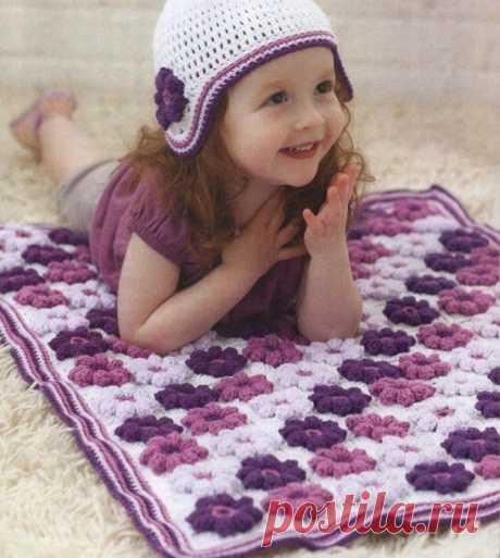 Яркий коврик для детской комнаты. Крючком. Схемы. / knittingideas.ru
