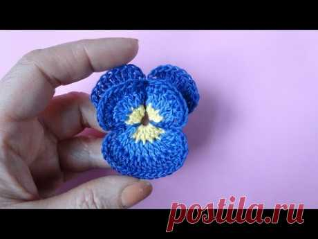 Crochet pansy Как вязать анютины глазки крючком Цветок 71 - YouTube — Яндекс.Видео