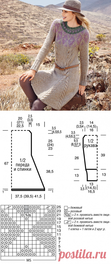 Платье с аранскими узорами и орнаментом — Рукоделие