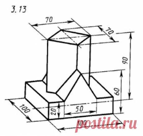 Деталь. Три вида по наглядному изображению в аксонометрической проекции. Вариант 3. Вариант 13. Инженерная графика, 2 курс
