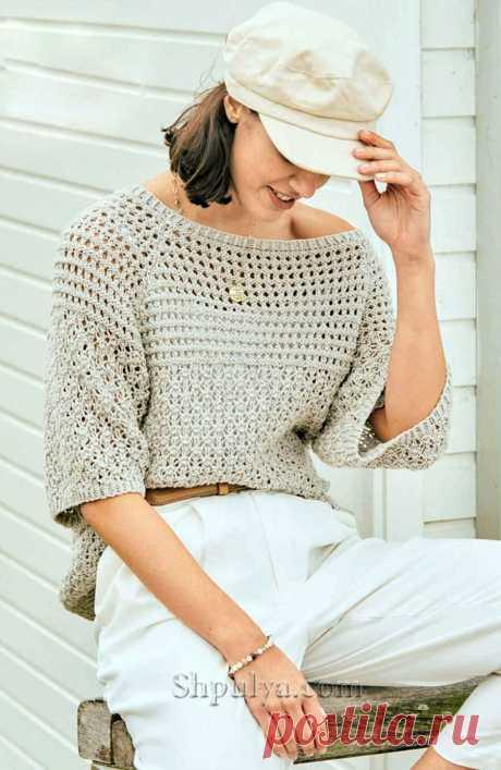 Ажурный пуловер с коротким рукавом реглан — Shpulya.com - схемы с описанием для вязания спицами и крючком