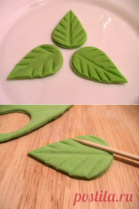 Листочки из мастики : Торты (украшения шаг за шагом)