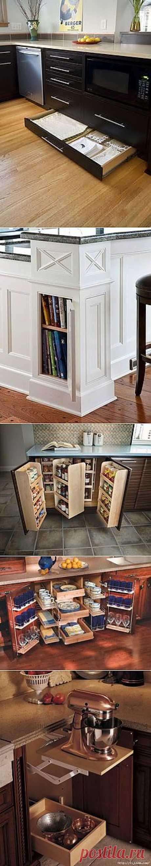 Удобные места хранения и приспособления на кухне..