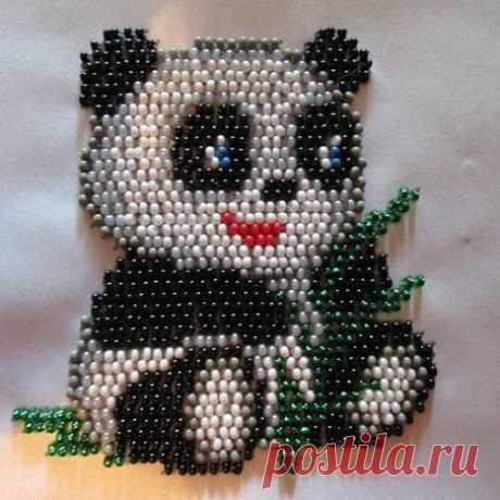 Панда,первая работа,не судите строго #панда #вышивкабисером #рукоделие #ergieva8124