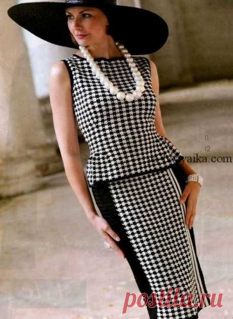 Черно-белый костюм с описанием. Двухцветный костюм в стиле Шанель крючком Черно-белый костюм: топ и юбка крючком с описанием. Двухцветный костюм в стиле Шанель крючком
