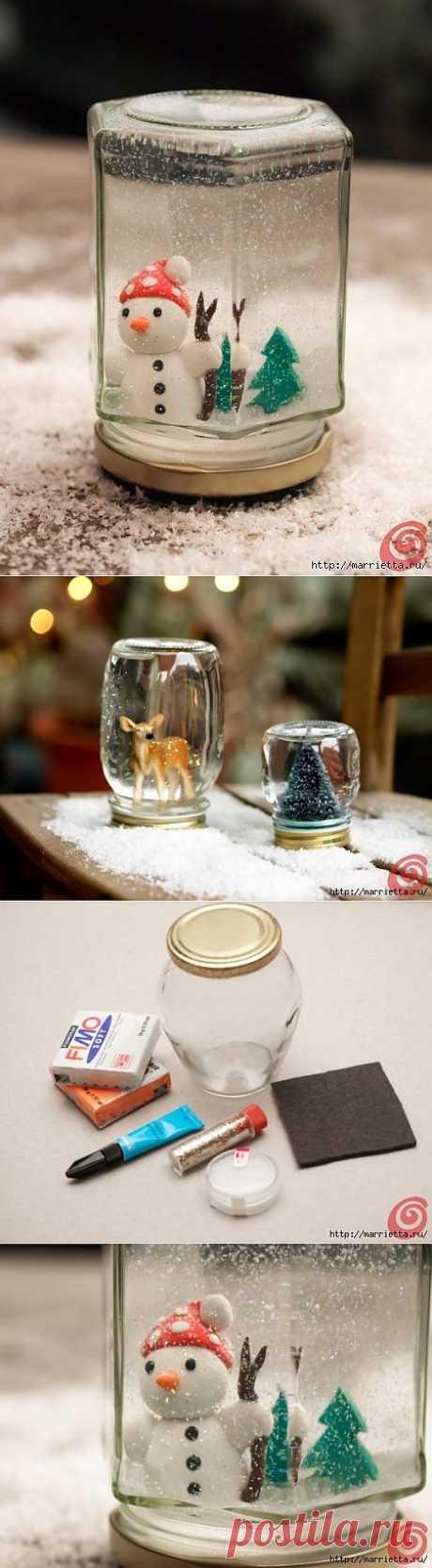 Новогодний снежный шар из банки, своими руками.
