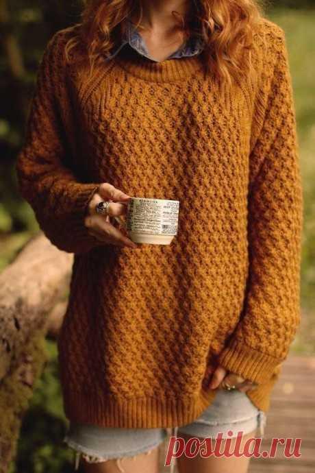 Симпатичный узор для пуловера, связанного спицами из категории Интересные идеи – Вязаные идеи, идеи для вязания