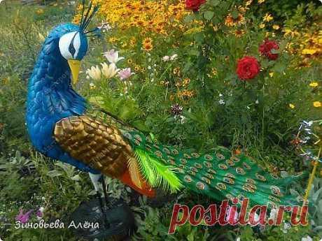 """Птица """"Павлин"""" из пластиковых бутылок, для сада. - Поделки для сада - Поделки для сада, огорода - Каталог статей - Рукодел.TV"""
